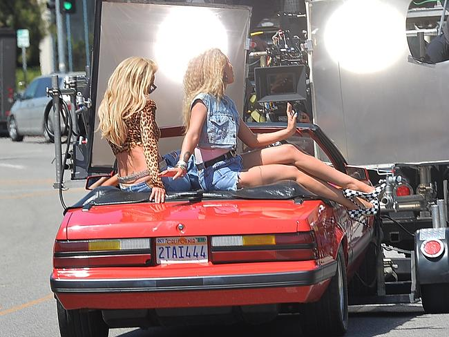 Iggy Azalea and Britney Spears film their new music video on Ventura Boulevard. Picture: