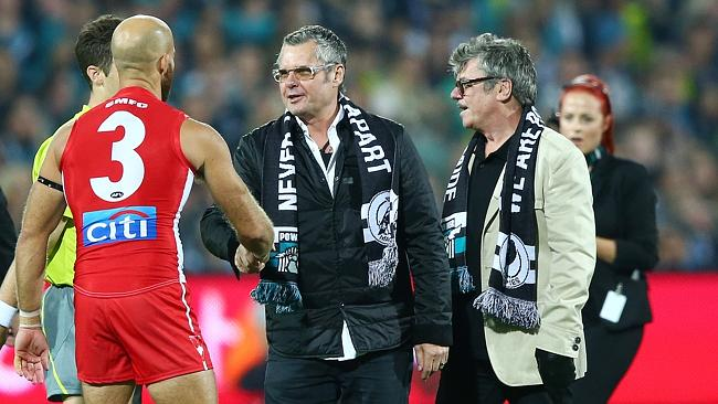 Footy fans ... Jon and Tim Farriss hanging with Sydney Swan Jarrad McVeigh. Photo Sarah R