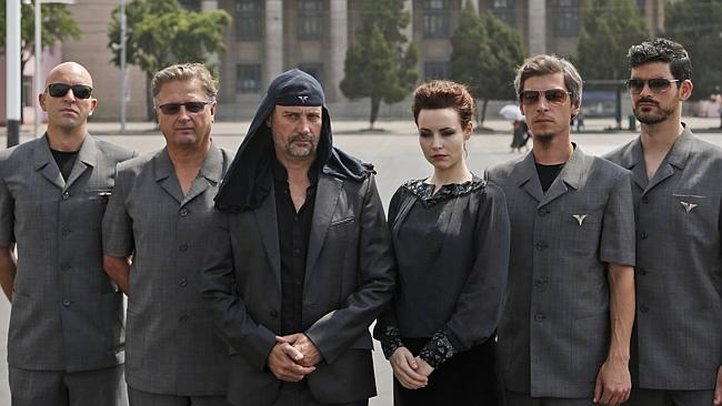Rockers ... Slovenian rock band Laibach pose during a photo shoot at Kim Il Sung Square p