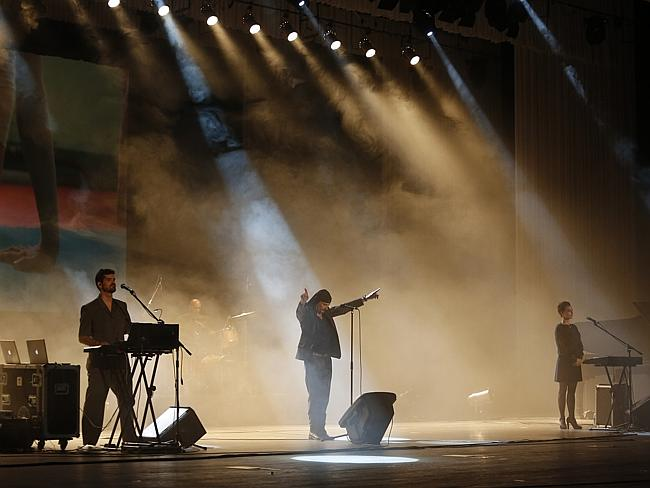 Rocking out ... Slovenian rock band Laibach performs in Pyongyang, North Korea. Picture: