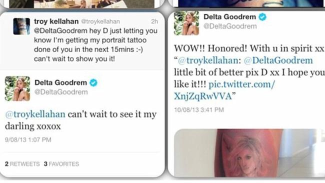 Messages to and from Delta Goodrem to fan Troy on Twitter.