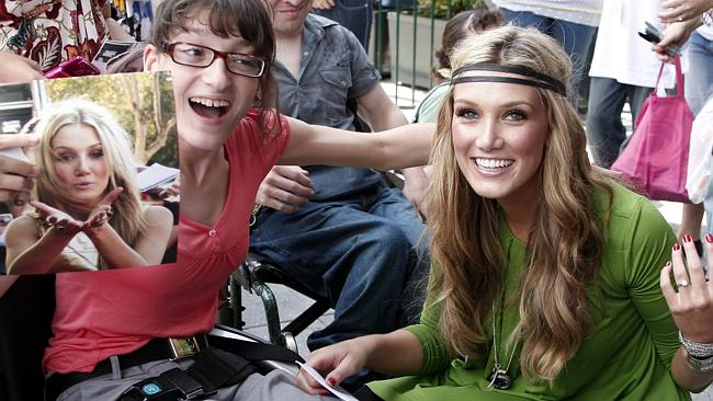People person ... Delta Goodrem meets fan Rosanna Deidda in Sydney during one of her many