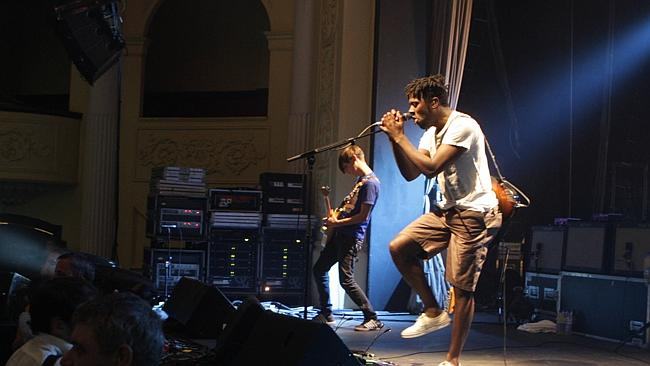 Party starters: Bloc Party pictured on stage in Adelaide in 2008