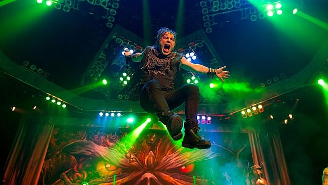 In the air: Bruce Dickinson is preparing for another gravity-defying Iron Maiden world to