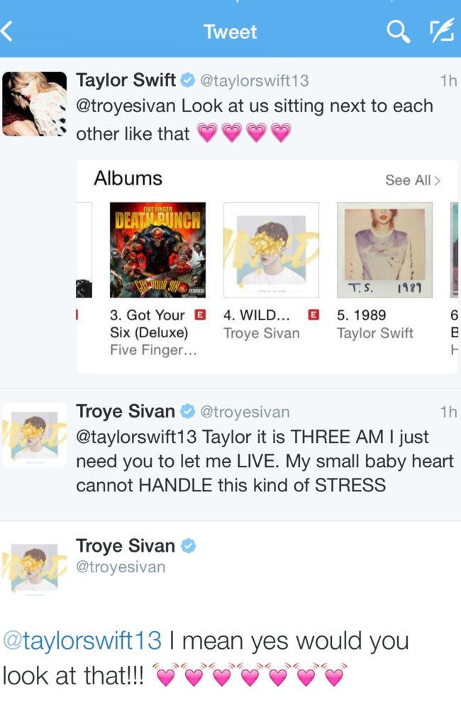 Hot on the charts ... Taylor Swift tweets Aussie singer Troye Sivan.